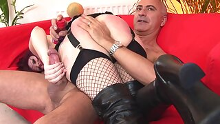 Kinky maledom sex with horny Shay wearing black lingerie. HD
