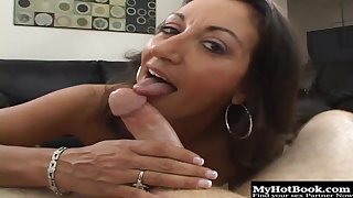 Persia Monir is a mature brunette milf gets on her lovers hard cock and rides it