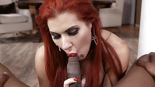 Top milf pleases with POV blowjob on a big black cock