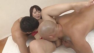 Asian in red lingerie fucked by two males