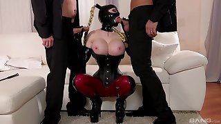 Crazy fetish in latex with a busty cougar on fire