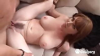 Mature MILF Rayveness Gets A Steamy Load Shot On Her Hairy Muff