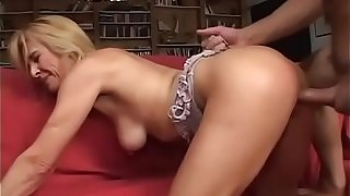 Amazing blonde milf banged by her young lover