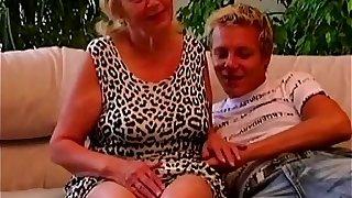 Teen boy seduced plump granny