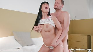 Brunette wife roughly fucked in the ass hard by other than her hubby