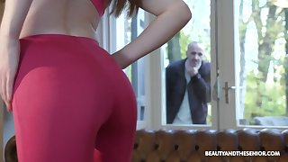 Old fart gets rancid spying on a hot pamper and that girl is a sex freak