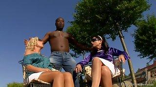 Roxyn and Sharka Blue - Interracial Threesome
