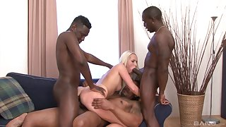 Sexy blonde babe tries hard mating with three black thugs
