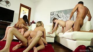 Three bitches are swopping their partners be useful to the ultimate orgy