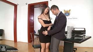 Twosome slutty secretaries including Asian Sharon Lee ride stout flannel first of all top