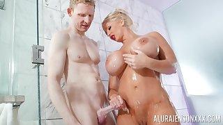 Blonde pornstar Alura Jenson with massive fake hooters fucked