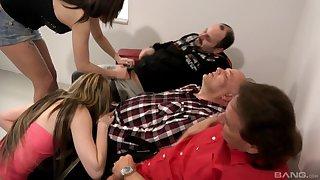 Elderly men enjoying young broads sucking their dicks on cam