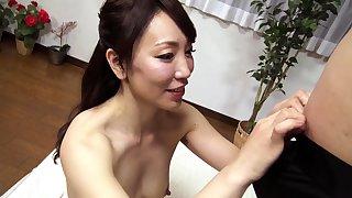 Subtitled tan Japanese amateur double handjob blowjob
