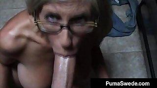 Euro Porn Star Puma Swede Gets Milky Glasses After Blow Job!