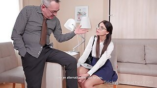 Nerdy coed Emily is fucked and jizzed overwrought kinky old teacher