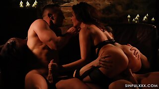 Jerking cock while giving a ride to choice dick is beguilement for horny Anna Polina
