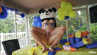 Party MILF gets the huge Panda bear's dick medial her ass