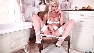 Handsome bazaar mature Jennifer Jade takes off her white panties