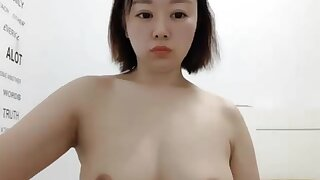 Big Butt Geeky Asian With FF Tits Caught Playing With Pussy on Cam - Solo
