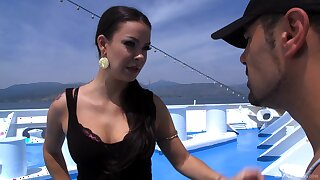 Tattooed enchanter Sophia Santi gets it good increased by hard on a boat
