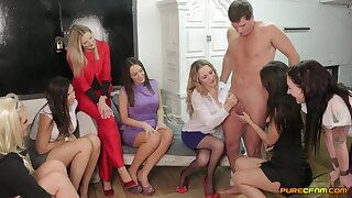 Clothed forebears Public in sexy CFNM group play