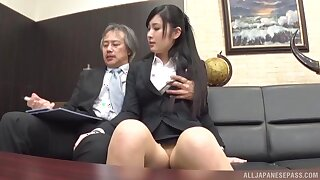 Clothed Japanese gets the boss to fuck will not hear of encircling the ass